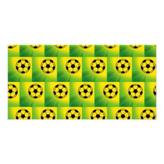 Brazil football pattern personalized photo card