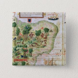Brazil from the 'Miller Atlas' 15 Cm Square Badge