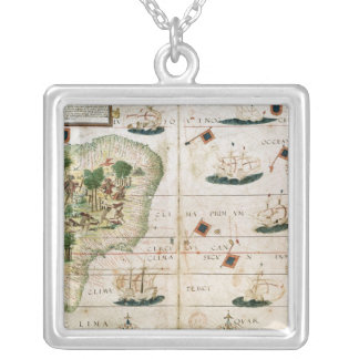 Brazil from the 'Miller Atlas' by Pedro Reinel Silver Plated Necklace