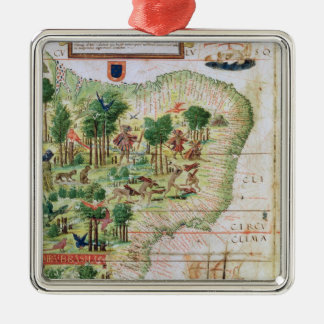 Brazil from the 'Miller Atlas' Silver-Colored Square Decoration