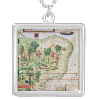 Brazil from the 'Miller Atlas' Silver Plated Necklace