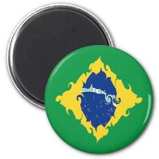 Brazil Gnarly Flag 6 Cm Round Magnet