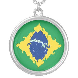 Brazil Gnarly Flag Round Pendant Necklace