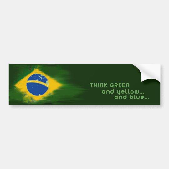 Brazil green and yellow bumper sticker