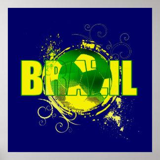 Brazil grunge logo soccer ball futebol fans gifts print
