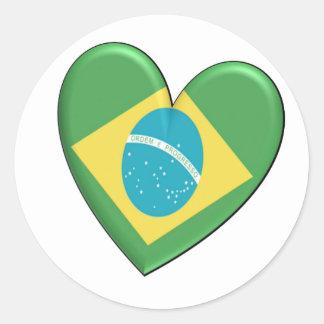 Brazil Heart Flag Classic Round Sticker