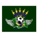 Brazil logo emblem 5 star for dark gifts postcard