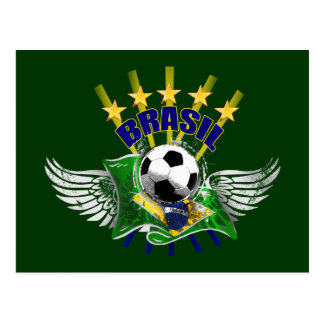 Brazil logo emblem 5 star for dark gifts postcard