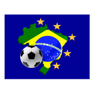 Brazil map 5 stars soccer ball gifts postcard