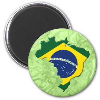 Brazil map 6 cm round magnet
