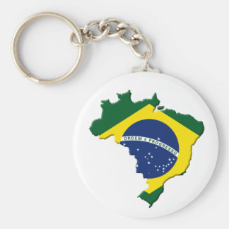 Brazil map basic round button key ring