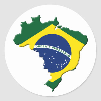 Brazil map classic round sticker