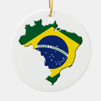 Brazil map Double-Sided ceramic round christmas ornament