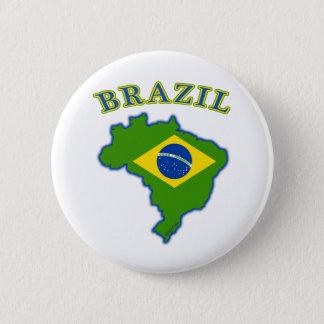 BRAZIl Map/Flag 6 Cm Round Badge