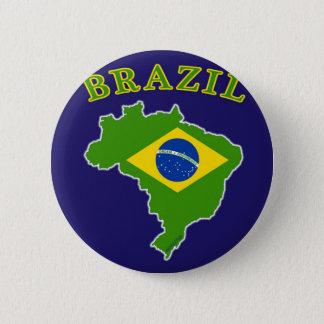 BRAZIL Map/Flag on Navy Background 6 Cm Round Badge
