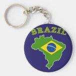 BRAZIL Map/Flag on Navy Background Basic Round Button Key Ring