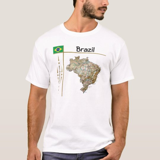 Brazil Map + Flag + Title T-Shirt