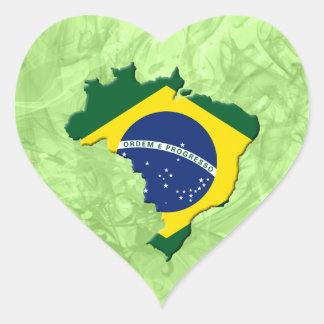 Brazil map heart sticker