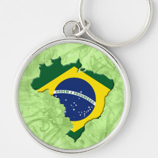 Brazil map Silver-Colored round key ring