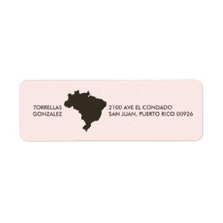 Brazil Map: Personalized: Pink Return Address Label