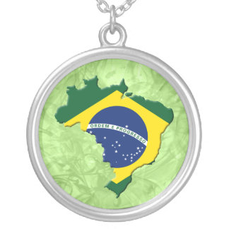 Brazil map round pendant necklace