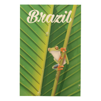 Brazil rainforest tree frog travel poster wood prints