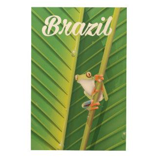 Brazil rainforest tree frog travel poster wood prints