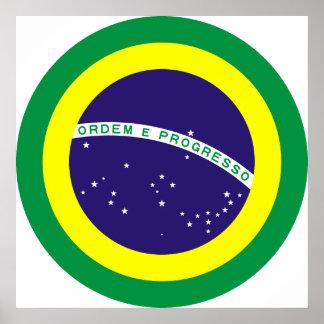 Brazil Round Flag Print