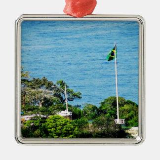 Brazil Silver-Colored Square Decoration