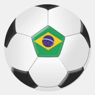 Brazil Soccer Ball Classic Round Sticker