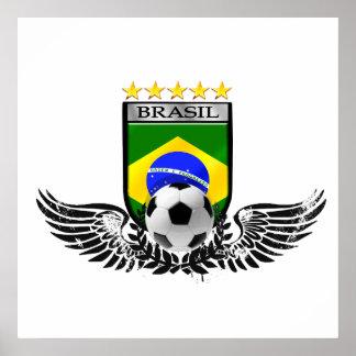 Brazil soccer shield for Brasileiro futebol fas Poster