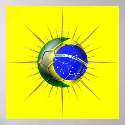 Brazil Soccer Starburst Brasil futebol presentes Posters
