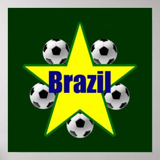 Brazil soccer stars 5soccer ball futebol fans gear poster