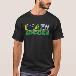 Brazil Soccer with Flag Black T shirt