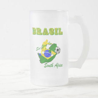 Brazil South Africa Qualifies Brasil T Frosted Glass Beer Mug