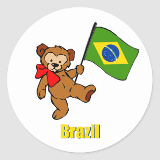 Brazil Teddy Bear Classic Round Sticker
