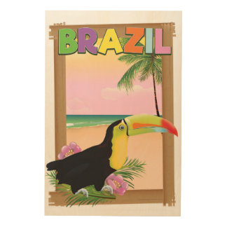 Brazil Toucan beach holiday poster