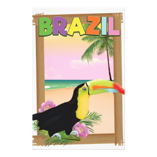 Brazil Toucan beach holiday poster Personalized Stationery