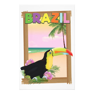 Brazil Toucan beach holiday poster Stationery Paper