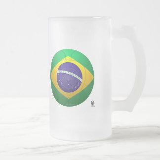 Brazil - Verde Amarela Football Frosted Glass Mug