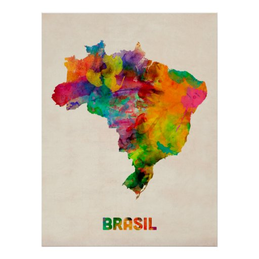 Brazil Watercolor Map Poster
