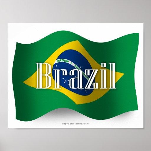 Brazil Waving Flag Print