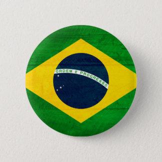 Brazil Wood Flag 6 Cm Round Badge