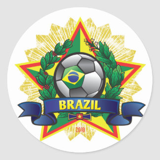 Brazil World Cup Soccer Classic Round Sticker