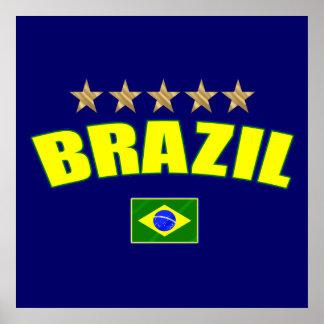 Brazil yellow Logo 5 stars soccer futebol gifts Poster