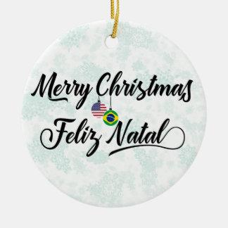 Brazilian American Holiday Decoration, Feliz Natal Christmas Ornament