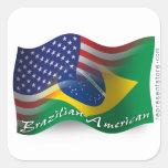 Brazilian-American Waving Flag