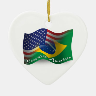Brazilian-American Waving Flag Christmas Ornament