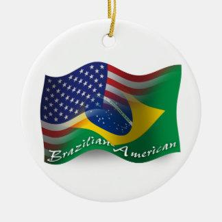 Brazilian-American Waving Flag Christmas Ornament