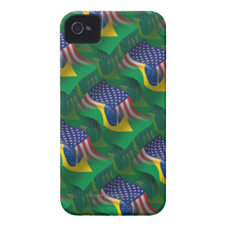 Brazilian-American Waving Flag iPhone 4 Case-Mate Case